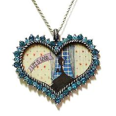 Life Is Good Blue Swarovski Crystal Heart Necklace with Silhouette Image