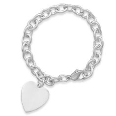 "Celebrity Inspired ~ 7.5"" Cable Bracelet with 21mm Heart  Code: 2291  Bracelet is 4mm wide with lobster clasp. .925 Sterling Silver  http://www.925silvercatalog.com/Merchant2/merchant.mvc?Screen=PROD_Code=SSC_Code=2291_Code=TR_Celeb_Inspired  USE Vendor Code DCH90045"