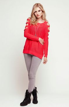 Nollie Cut Out Sleeve Pullover Sweater