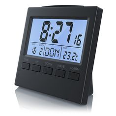 CSL - Funkwecker digital mit Temperaturanzeige | DCF-Funkuhr / Reisewecker Date Month, Display Lcd, Digital Alarm Clock, 3, Products, Alarm Clock, Viajes, Blue, Gadget