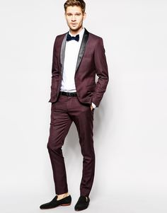 Image 1 of Selected Purple Tuxedo With Shawl Lapel In Skinny Fit