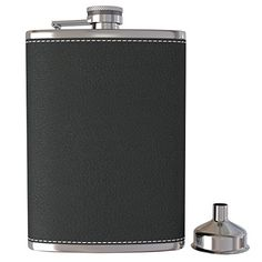 Pocket Hip Flask 8 Oz with Funnel 188 Stainless Steel with Black Leather Wrapped Cover and 100 Leak Proof Fits any Suit for Discrete Liquor Shot Drinking *** Click on the image for additional details.