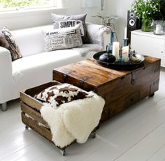 wooden chest used as coffee table
