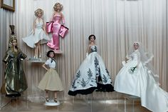 Marilyn Monroe, Audrey Hepburn and Elizabeth Taylor's Barbie incarnations are showcased at a new exhibition held at Paris's Musée de la Poupée, dedicated to retro chic Barbie dolls.