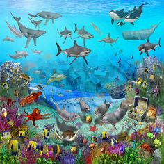 under the sea wall murals | Colorful Childrens Wallpaper Murals Under The Sea, Creative Wallpapers ...
