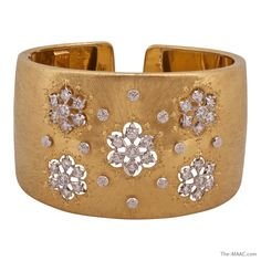 "Buccellati diamond and gold wide cuff bracelet. 18K gold and diamonds, Italy, c. 1980-1990s.  Size: 3"" x 1"" x 2"""