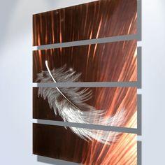 Metal Art Wall Art Decor Abstract Contemporary Modern Sculpture Hanging Zen Textured - Feather. via Etsy.