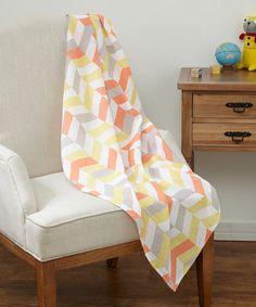 47'' x 47'' Gray & Orange Geometric Swaddling Blanket #zulily #zulilyfinds
