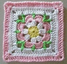 Crochet granny square - Free pattern on Ravelry: free pattern in library Crochet Square Pattern, Crochet Blocks, Square Patterns, Crochet Squares, Crochet Blanket Patterns, Crochet Granny, Crochet Motif, Crochet Yarn, Crochet Stitches