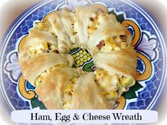 "Ham, Egg & Cheese Wreath  - Great for Weekend Guest Brunch...Love This Idea!....If You've Had the Pampered Chef Appetizer Ring, You Know That Dishes Made With Crescent Rolls Are Yummy & Always A Hit...So Make It With Breakfast Foods...Gonna Be A Hit!!  Love This...Looks & Sounds Yummy....Great When Friends Come to Visit For A Late Breakfast....On My ""To Make"" List!!"