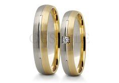 Para obrączek ślubnych z kolekcji Stelmach z białego i żółtego złota próby 585 z cyrkonią lub brylantem GRAWER W PREZENCIE | OBRĄCZKI ŚLUBNE \ Dwukolorowe złoto od GESELLE Jubiler
