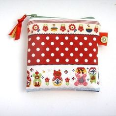 Pretty little Russian doll Japanese printed fabric coin purse, perfect for your coins, notes and cards. Pattern placement may vary slightly Fully lined in contrasting fabric with zipper fastener, ribbon and button tag. Button Tag, Gold Angel Wings, Conkers, Angel Wing Pendant, One Day Sale, Fabric Purses, Japanese Prints, Half Price, Pretty Little