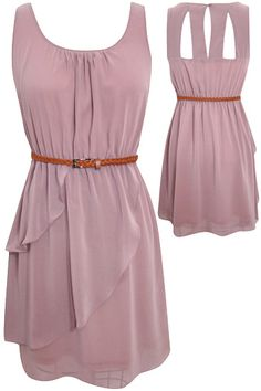 lavender dress w/ thin brown belt