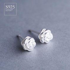 925 sterling silver jewelry three-dimensional rose earrings female wild Korean earrings fashion simple woman gift