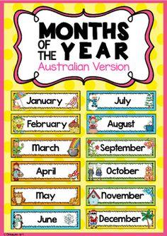 Months of the Year Headers {Australian Version} English Classroom, Classroom Language, Classroom Bulletin Boards, Classroom Themes, Principal Appreciation, Numeracy Activities, Math Measurement, Gk Knowledge, Classroom Organisation