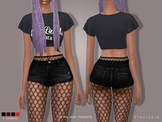 The Sims Resource: Set78- High Waisted Fishnet Tights by Cleotopia • Sims 4 Downloads