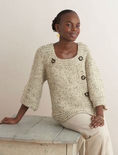 Knit this Extra Easy, Extra Fabulous Sweater made with Wool-Ease Thick & Quick for when you're not sure how warm you want to dress that day.