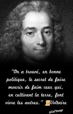 """""""On a trouvé, en bonne politique, le secret de faire mourir de faim ceux qui, en cultivant la terre, font vivre les autres.""""  Voltaire Belles Phrases, Beautiful Words, Questions, Great Quotes, Dire, Robin, Favorite Quotes, Philosophical Quotes, Make Believe"""