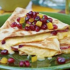 Pomegranate, Gouda and Pear Quesadilla with POM Salsa just might be that perfect snack for football season--or any time.