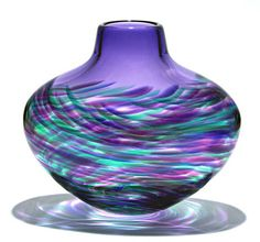 """Flattened Vortex Vase: Purple""  Art Glass Vase  Created by Michael Trimpol"