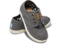 91d4723533af Toms Tiny Ash Canvas Cordones Size 6 Toddler T6 Shoes Slip on Gray New in  Box