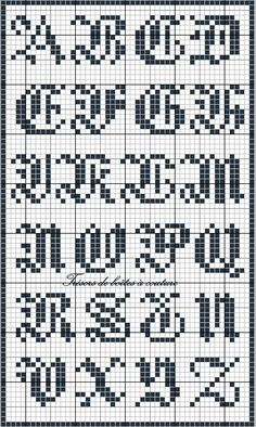 Sajou 3 gothic script alphabet chart for cross stitch and needlepoint