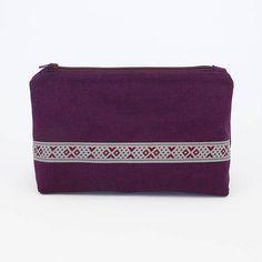 Purple Linen Zipper Pouch  Bohemian Cosmetic Zipper Pouch