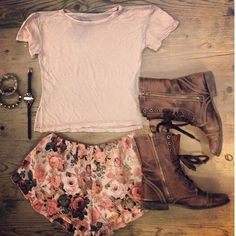 floral shorts, faded brown boots, plain tshirt
