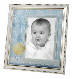 Baby Baptism Photo Frame With Shell Pink Or Blue Color