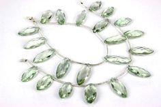 Prasiolite Beads In Marquise Faceted Shape Quality A  #prasiolitebeads #marquisebeads #greenbeads #semipreciousstone #semipreciousbeads #gemstonebeads #gemrareUSA #briolettes #jewelrymaking #craftsupplies #beadwork