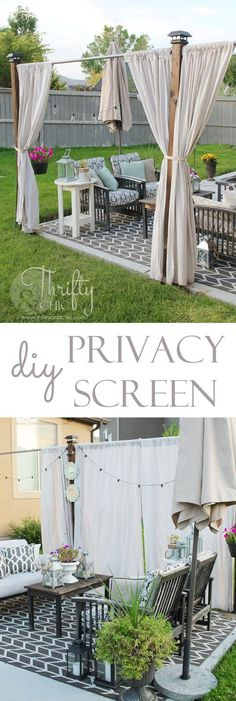 If you love to get more use out of your outdoor spaces without a scalding sunburn, these DIY backyard sun shade ideas might be just the ticket. Hinterhof Deck Ideen 16 Easy DIY Backyard Sun Shade Ideas for your Backyard or Patio - The ART in LIFE Outdoor Rooms, Outdoor Gardens, Outdoor Living, Outdoor Curtains For Patio, Outdoor Flooring, Outdoor Curtain Rods, Outdoor Balcony, Backyard Shade, Backyard Patio
