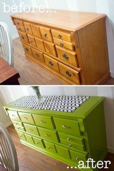20 ideas para pintar muebles de madera antiguos a todo color 10