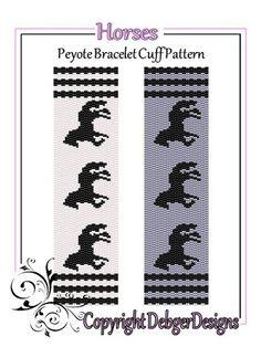 Horses - Beaded Peyote Bracelet Cuff Pattern   DebgerDesigns - Patterns on ArtFire
