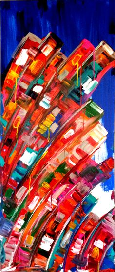 "SOLD ""Manhattan""..acrylic on canvas..84"" x 36"" x 3""..©Mac Worthington, artist For further information on this piece or to discuss a custom design please call 614 