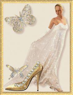 Sparkling Ensemble fashion dress glitter gold white gif sparkle formal gown…