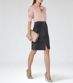 Bea Steel Blue Suede Pencil Skirt - REISS