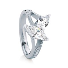 TIREE engagement ring by MaeVona: Marquise-cut and pear-shape two-stone ring. Graceful asymmetric design, with delicate pierced side details and hand set pave accents. Named after the Scottish island of Tiree.