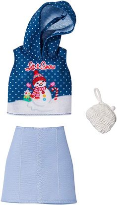Barbie Holiday Fashion Assortment of Doll Clothes, Complete Outfit Dolls with Let It Snow Hoodie, Skirt & Purse, Gift for 3 to 8 Year Olds Barbie Doll Set, Doll Clothes Barbie, Barbie Dress, Barbie Stuff, Snow Fashion, Holiday Fashion, Holiday Outfits, Ropa American Girl, Fashion Dolls