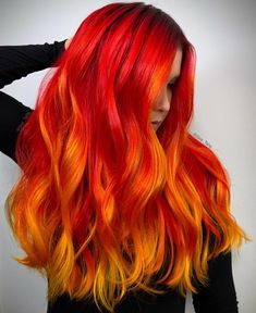 Hair by Guy Tang - Christmas-Desserts Vivid Hair Color, Hair Dye Colors, Ombre Hair Color, Cool Hair Color, Fire Ombre Hair, Fire Red Hair, Vibrant Hair Colors, Red Orange Hair, Bright Red Hair
