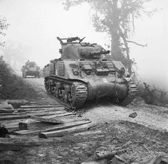 A Sherman tank waiting to move forward duirng the battle for Cassino in Italy, 13 May 1944.