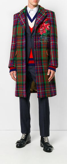 Gucci floral embroidered checked coat, explore Gucci on Farfetch now.