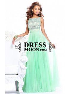 Stunning A-Line/Princess Bateau Beading Floor-Length Net Prom Dress