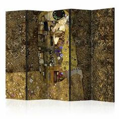 Golden Kiss Room Divider East Urban Home Number of Panels: 5 Constellation Room, Mystery Room, Marble Room, Decorative Room Dividers, Butterfly Room, 4 Panel Room Divider, Colorful Abstract Art, Wood Shelves, Home Accents