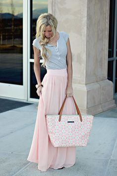 Beautiful pink skirt and grey top