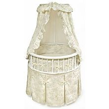 Badger Basket Elegance Round Baby Bassinet with Toile Bedding!!!!! This is the one!!! Just need the bedding to match the room! If not ill still live