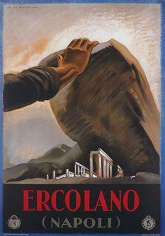 Vintage 1928 Italian Italy Ercolano Naples Travel Poster