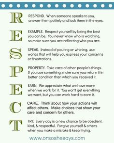 Good ways to earn and give respect.