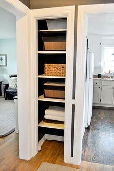 open linen closet loving this for my space