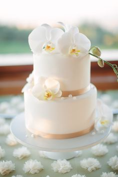 Simple Stylish White Cake with orchids form Sarah and Gus' Wedding. Cake from Taste Catering.