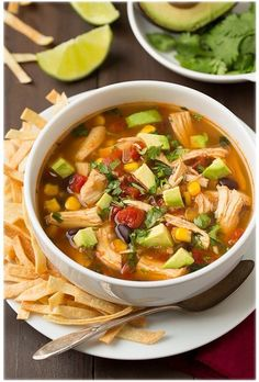 Chicken tortilla soup 7 cups water with 5 chicken tenderloins boil for 40 minutes with chopped onion.  Break chicken apart and add fresh diced jalapeños, 2 cloves garlic, lime juice, corn, salt, pepper, cumin, trader joes all season salt, red pepper and boil for another 15-20 min to reduce broth. Slightly thicken with flour. At end chopped fresh tomatoes and heat for 1 more minute. Serve with cheddar, sour cream dollop, and lime juice sautéed fresh cut avocados.  Eat wi tortillas or corn…